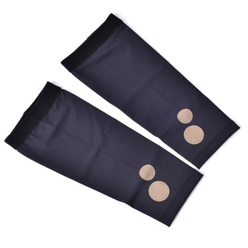Black Unisex Anti-Fatigue Copper Infused Compression Socks (Size 11-12) with Knee (39-41cm) and Elbow Sleeve (30-32cm) - Extra Large