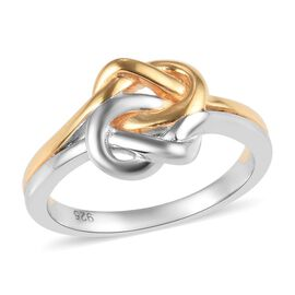 Platinum and Yellow Overlay Sterling Silver Knot Ring