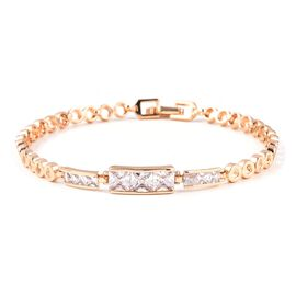 8 Inch Simulated Diamond Classy Tennis Style Bracelet in Gold Tone