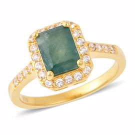 2.11 Ct Grandidierite and Zircon Halo Ring in Yellow Gold Plated Sterling Silver