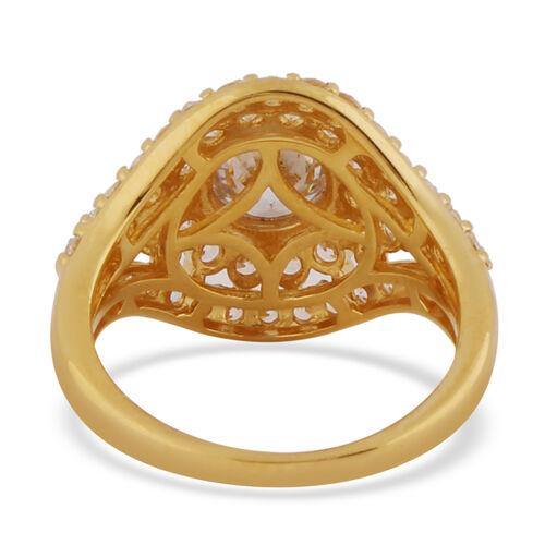 J Francis 14K Gold Overlay Sterling Silver Ring Made with SWAROVSKI ZIRCONIA 4.01 Ct.