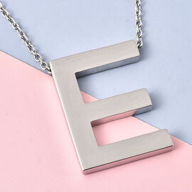 Initial E Necklace (Size - 20) in Stainless Steel
