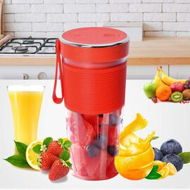 Super Auctions - Rechargeable and Portable 350 ml Juicer Blender with Three Blades - Red