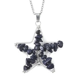 Blue Sandstone Star Pendant with Chain (Size 24) in Stainless Steel 20.00 Ct.