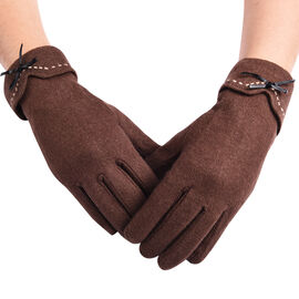 Super Soft Winter Cashmere Gloves with Bowknot - Brown