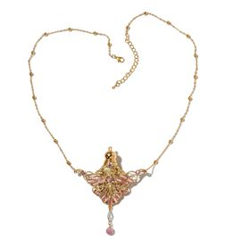 Turkish Style Perfume Bottle Wing Necklace (Size 27) with Multi Colour Crystals in Yellow Gold Tone