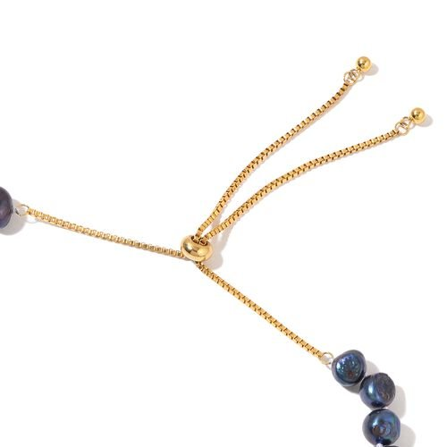 Fresh Water Peacock Pearl Adjustable Necklace (Size 16)  in Yellow Gold Tone