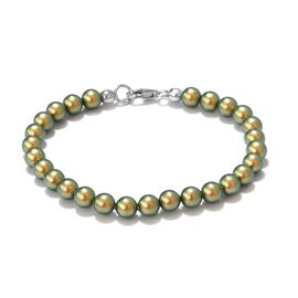 Iridescent Swarovski Crystal Beaded Bracelet in Silver 7.5 Inch