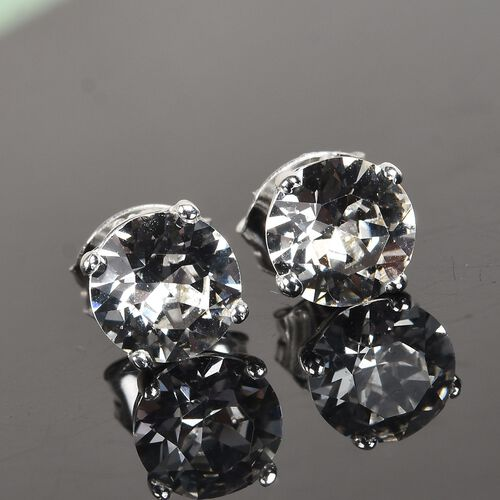J Francis - Crystal from Swarovski White Crystal Stud Earrings (with Push Back) in Sterling Silver