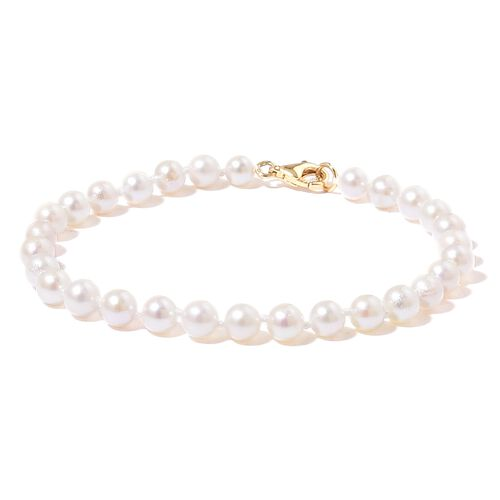One Time Only Deal -ILIANA 18K Y Gold AAA Japanese Akoya Pearl (Rnd 5-6mm) Ball Beads Bracelet (Size 7.5)