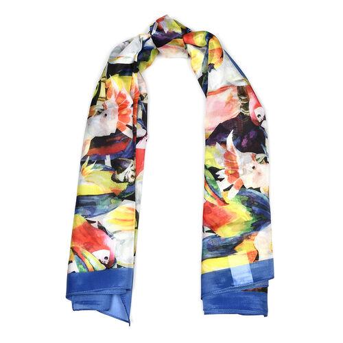Parrot Pattern HD Digital Print Multi Colour Scarf (Size 100x100 Cm)