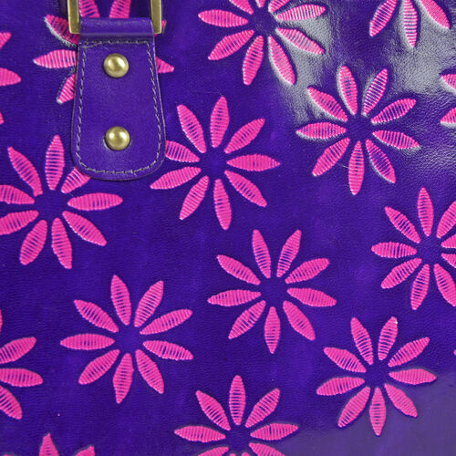 100% Genuine Leather Purple Colour RFID Hand-Painted Hand Bag With External Zipper Pocket. (41cmX 26cmX 9cm)