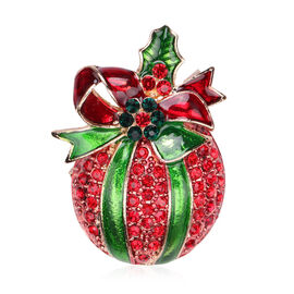 Red and Green Austrian Crystal Enamelled Christmas Theme Brooch