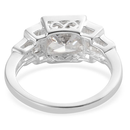 ELANZA Simulated Diamond (Sqr) Ring in Sterling Silver.