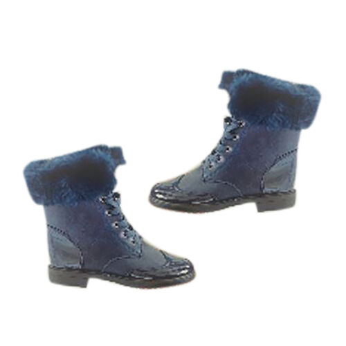 Warm Faux Fur Ankle Boots (Size 8) - Navy