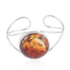 Baltic Amber (Rnd) Bangle (Size 7) in Rhodium Overlay Sterling Silver