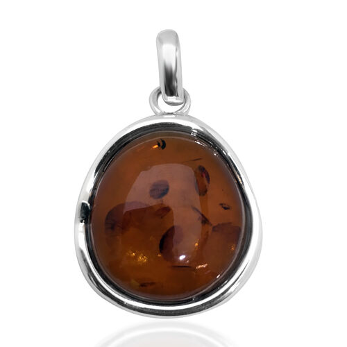 Tucson Baltic Amber (Cab oval 25x24mm) Pendant in Sterling Silver, Silver Wt 3.80 Gms