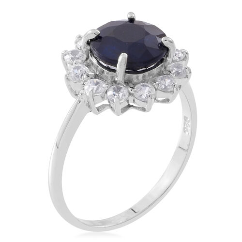 Rare Size Madagascar Blue Sapphire (Rnd 3.25 Ct), Natural White Cambodian Zircon Flower Ring in Rhodium Plated Sterling Silver 4.500 Ct.