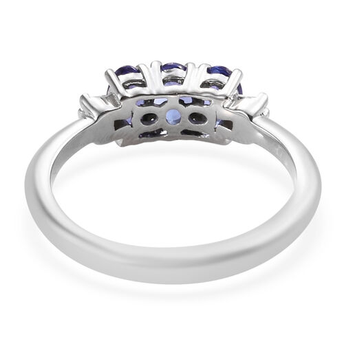 Signature Collection 0.70 Ct AAAA Tanzanite and Diamond SI GH Trilogy Design Ring in 950 Platinum