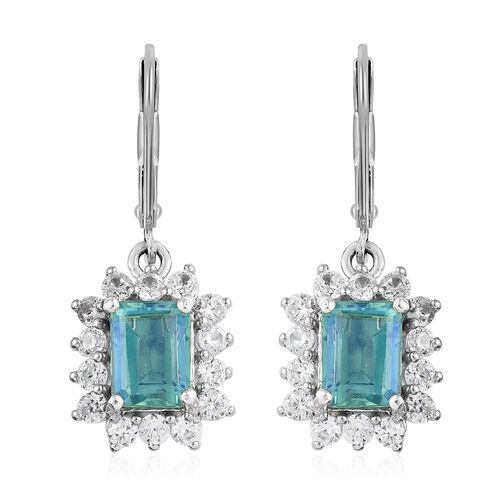 5.75 Ct Quartz and Zircon Halo Drop Earrings in Platinum Plated Silver