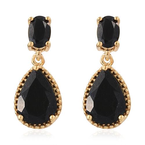 Black Tourmaline (Pear), Boi Ploi Black Spinel Drop Dangle Earrings in 14K Gold Overlay Sterling Sil