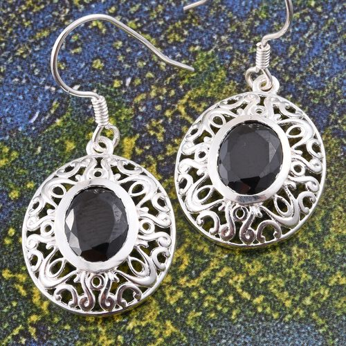 Limited Edition-ELANZA AAA Simulated Black Diamond (Ovl) Hook Earrings in Sterling Silver.Silver Wt 5.00 Gms