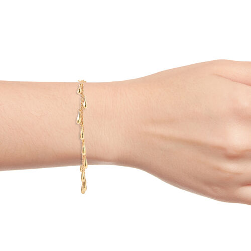 LucyQ Multi Drip Bracelet (Size 7/7.5/8) in Yellow Gold Overlay Sterling Silver, Silver wt 9.99 Gms