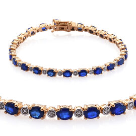 8.75 Ct Blue Spinel and Diamond Tennis Bracelet in Gold Plated Sterling Silver 10.21 Grams