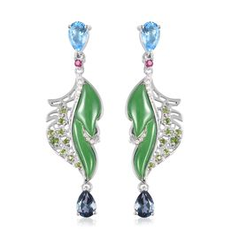 RACHEL GALLEY 11.74 Ct Green Jade and Multi Gemstone Leaf Drop Earrings in Rhodium Plated Silver