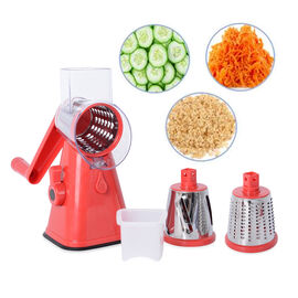 Vegetable and Fruit Slicer with Slice, Shred, Grate Blades (Size 27x18x14 Cm) Colour Red