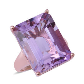 Rose De France Amethyst (Oct 20x15 mm) Ring in Rose Gold Overlay Sterling Silver 21.250 Ct, Silver w