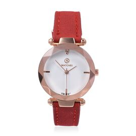 Designer Inspired STRADA Japanese Movement White Austrian Crystal Studded Water Resistant Watch in Rose Gold Tone with Red Colour Strap.
