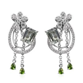Prasiolite (Oct), Natural Cambodian Zircon, Russian Diopside Earrings (with Push Back) in Platinum O