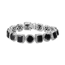 50 Carat Natural Boi Ploi Black Spinel Bracelet in Platinum Plated Silver 7 Inch