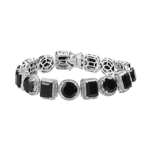 50 Carat Natural Boi Ploi Black Spinel Bracelet in Platinum Plated Silver 7 Inch