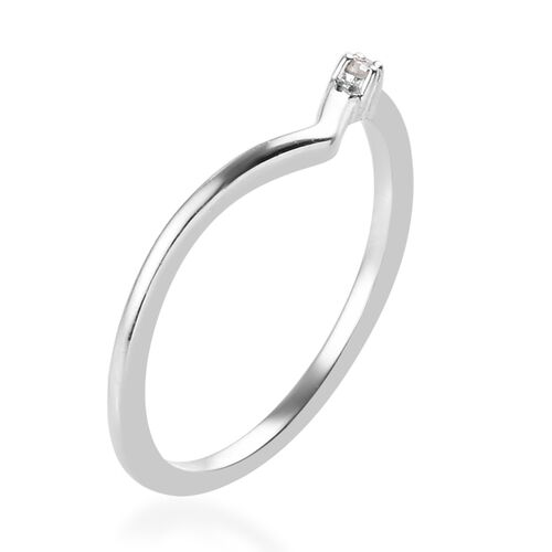 Diamond Wishbone Ring in Platinum Overlay Sterling Silver