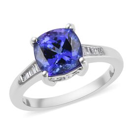 RHAPSODY 950 Platinum AAAA Tanzanite (Cush 8x8 mm), Diamond (VS/E-F) Ring 2.72 Ct.
