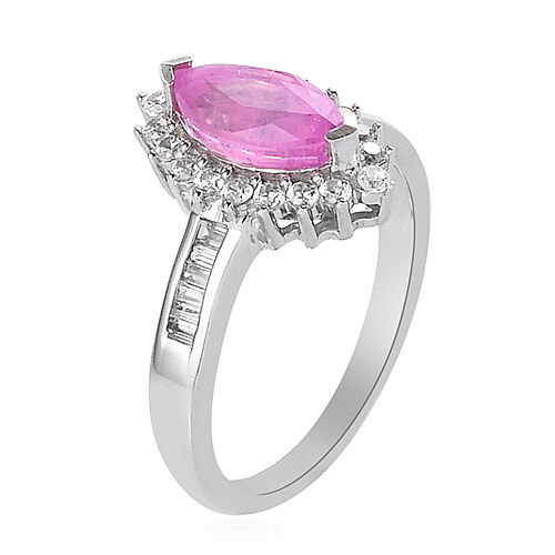 Hot Pink Sapphire and Natural Cambodian Zircon Halo Ring in Platinum Overlay Sterling Silver 2.00 Ct.