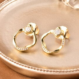LucyQ Fluid Collection - White Moissanite Earrings (with Push Back) in Yellow Gold Overlay Sterling Silver