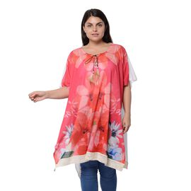 Cherry Red Colour Floral Pattern Poncho (Size 83.8x89 Cm)