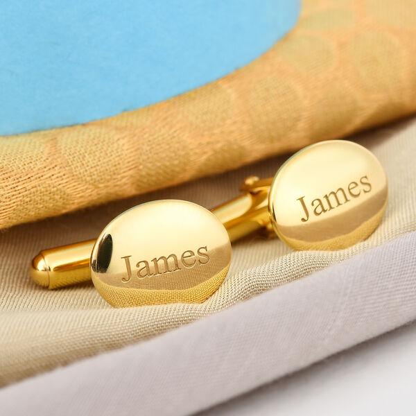Personalise Engraved Men Oval Cufflinks in Silver