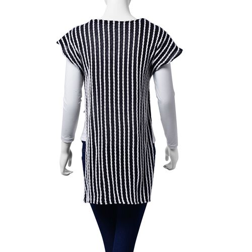 Monochrome White and Black Colour Woven Top with side detail (Size 80x50 Cm)