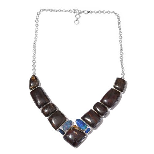 One Off A Kind- Boulder Opal Rock and Opal Double Necklace (Size 18 with 1 inch Extender) in Sterling Silver 258.100 Ct. Silver wt 30.88 Gms.