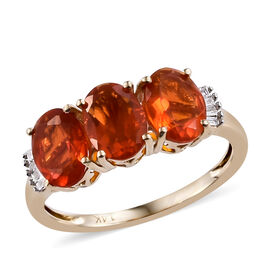 New York Close Out Deal -14K Yellow Gold  Jalisco Fire Opal (Ovl), Diamond Ring (Size L) 1.550  Ct.