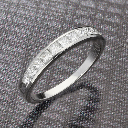 RHAPSODY 950 Platinum Certified Natural Diamond (VS/E-F) Half Eternity Band Ring 1.00 Ct, Platinum Wt. 5.00 Gms