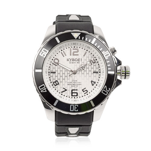 KYBOE Power Collection- Japanese Movement 100M Water Resistance Silver Shine LED Watch in Stainless
