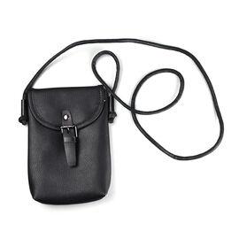100% Genuine Leather Crossbody Bag (Size 13x4x20cm) - Black