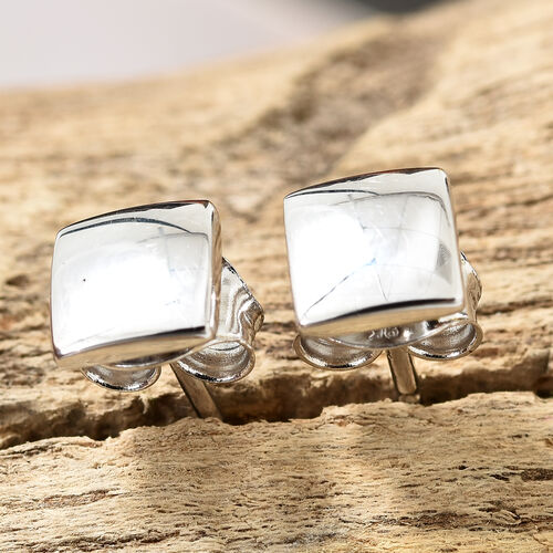 9K White Gold Stud Earrings (With Push Back)