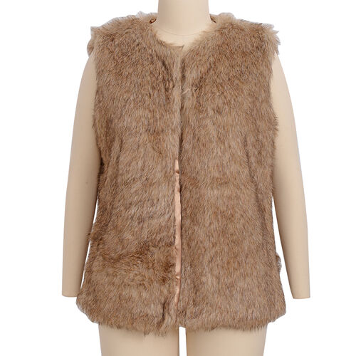 Close Out Deal Luxe Super Soft Helson Faux Fur Brown and Black Colour Gilet (Size16-size18)