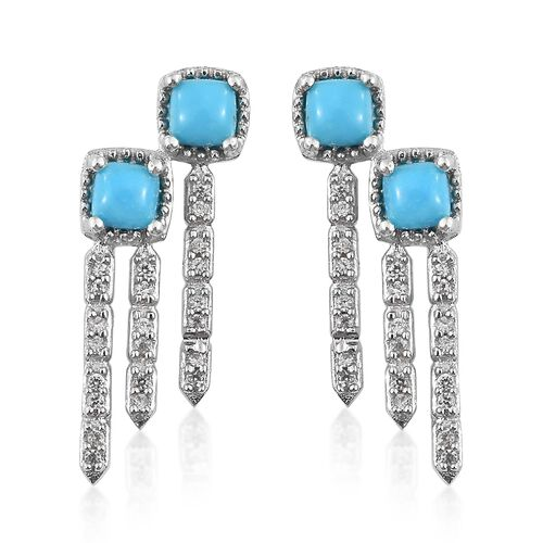 Arizona Sleeping Beauty Turquoise (Cush), Natural Cambodian Zircon Earrings (with Push Back) in Platinum Overlay Sterling Silver 1.500 Ct.